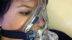 Rachel in another breathing mask.