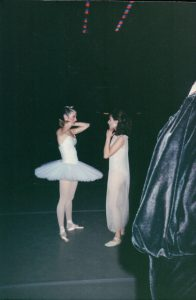 Rachel (right) backstage before a performance.